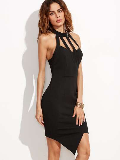 Black Caged Halter Neck Asymmetric Wrap Dress