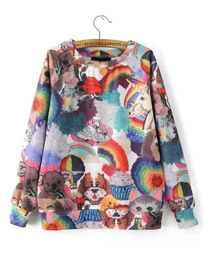 Multicolor Cartoon Print Raglan Sleeve Sweatshirt