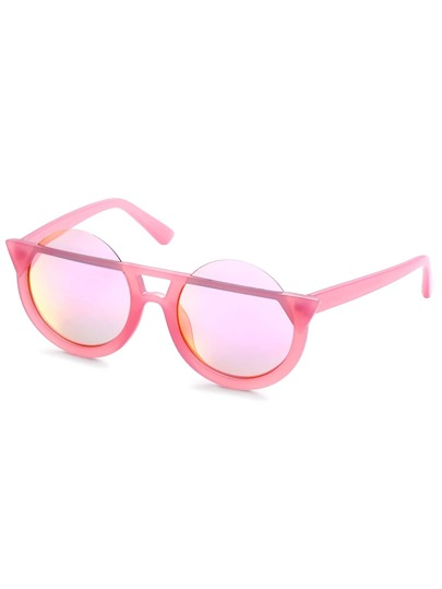 Pink Frame Iridescent Round Lens Sunglasses