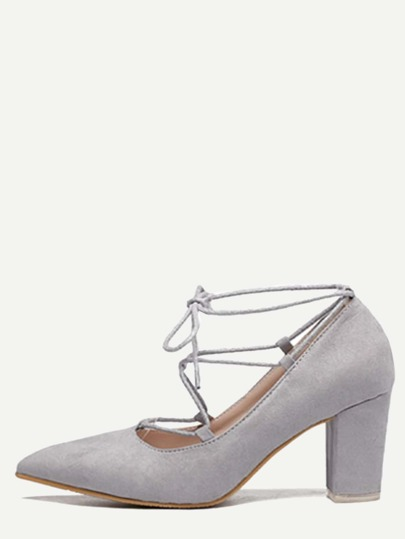 Grey Faux Suede Lace Up Pointed Chunky Shoes