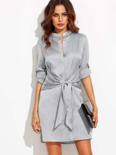 Silver Roll Up Sleeve Tie Waist Dress
