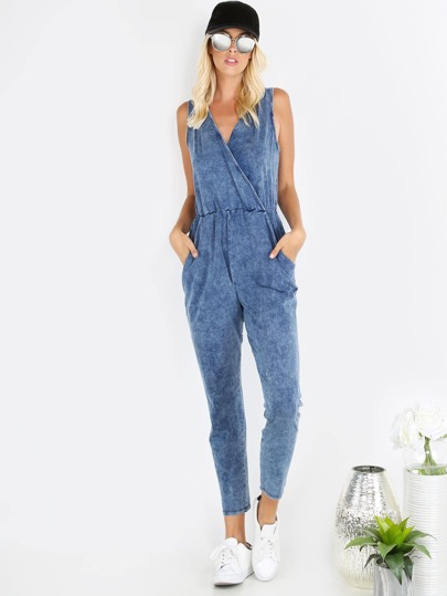 Blue Pocket Sleeveless Surplice Jumpsuit