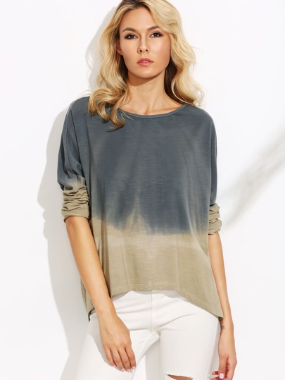 Contrast Ombre Slit Side High Low T-shirt