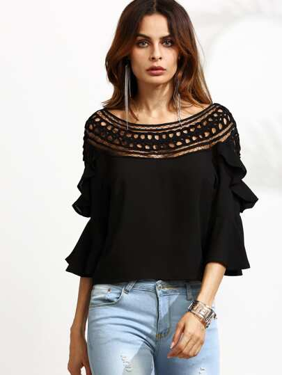 Black Crochet Neck Bell Sleeve Ruffle Top
