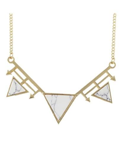 White Turquoise Triangle Pendant Necklace