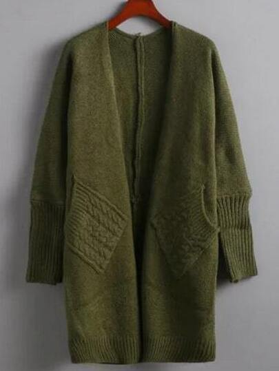 Green Cable Knit Chunky Pockets Coat