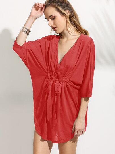 Red V Neck Drawstring Waist Batwing Dress