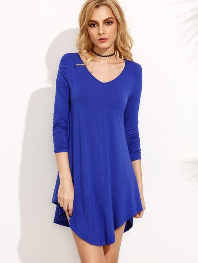Royal Blue Long Sleeve Asymmetrical Dress