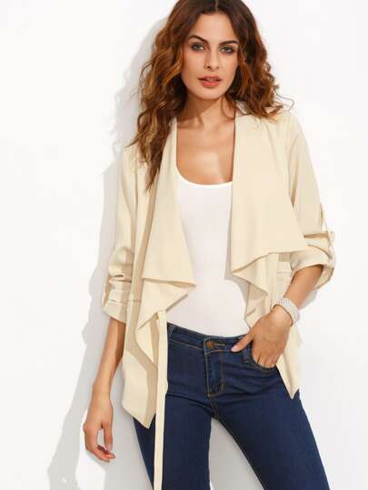 Apricot Lapel Rolled Up Sleeve Outerwear