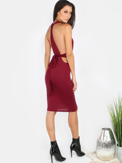 Ruched Halter Wrap Dress WINE