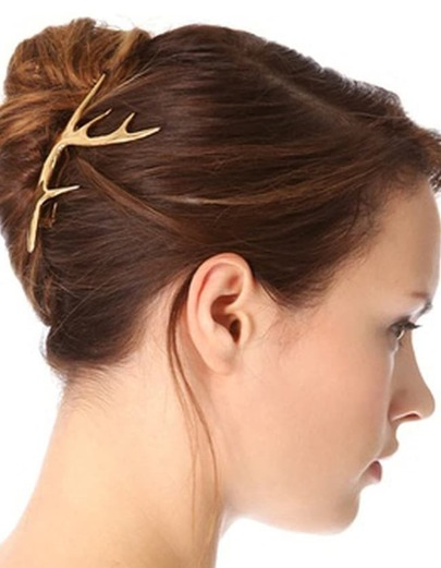 Gold Deer Head Shape Hair Clips