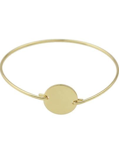 Gold Round Decoration Thin Cuff Bracelet