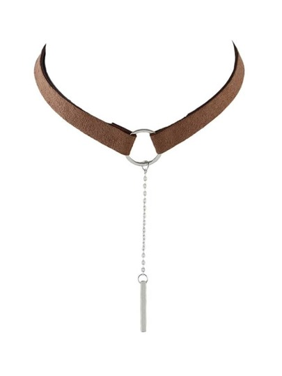 Silver Brown PU Leather Choker Necklace With Long Chain