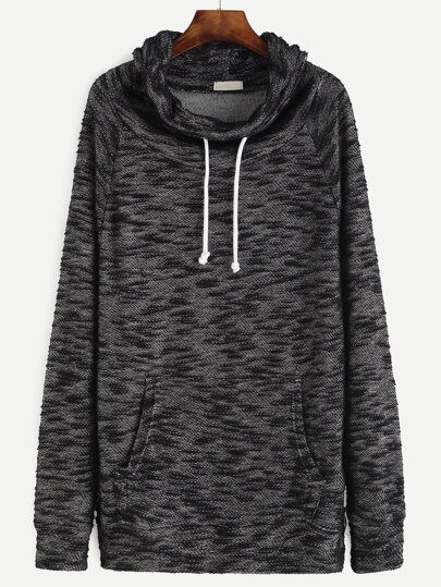 Black Drawstring Cowl Neck Sweatshirt With Pocket