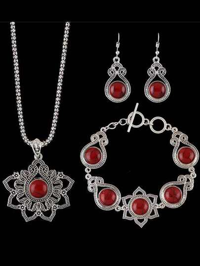Red Indian Design Imitation Turquoise Necklace Bracelet Earrings Set
