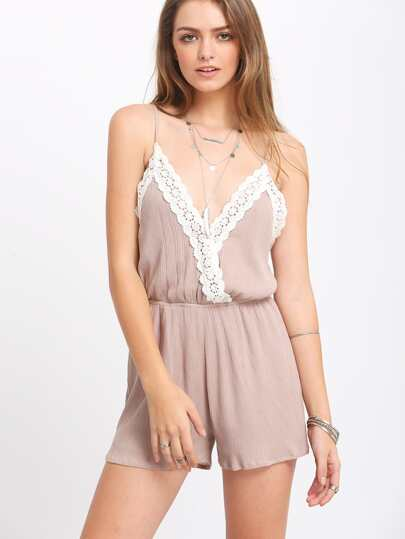 Khaki Spaghetti Strap With Lace Jumpsuit