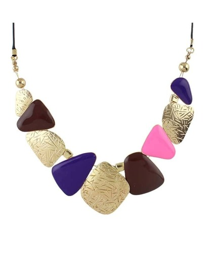 Purple Enamel Statement Necklace