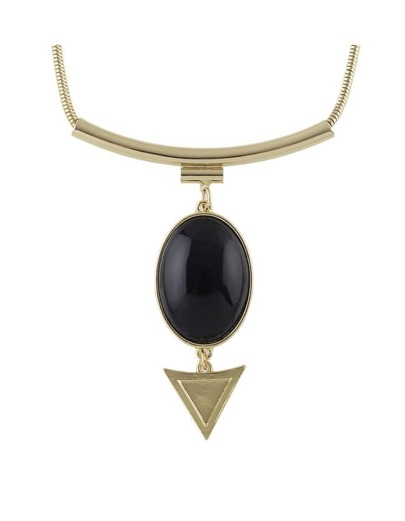 Black Hanging Stone Pendant Necklace