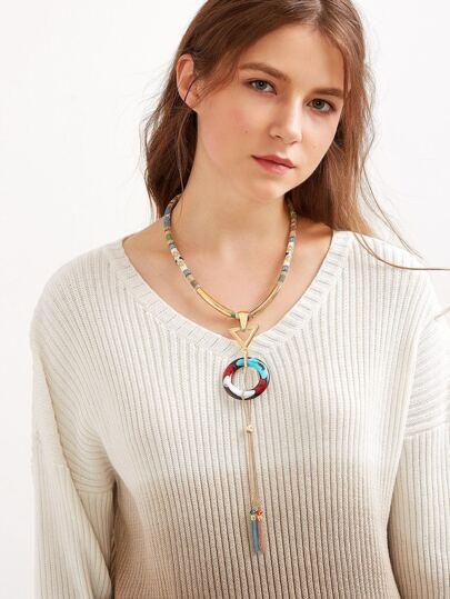 Bohemia Triangle Pendant Fringe Necklace