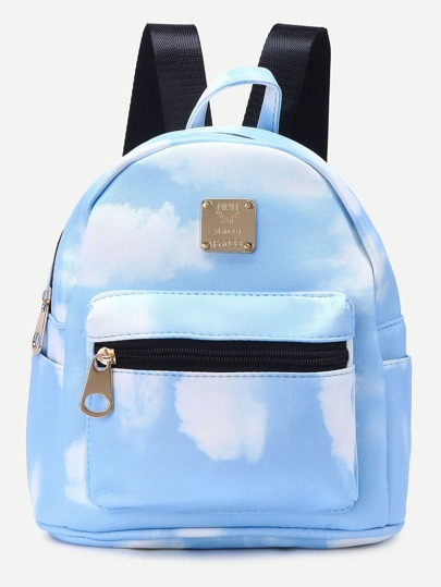Bule PU Cloud Print Front Zipper Backpack