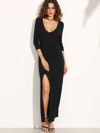 Vestido escote V profundo abertura - negro
