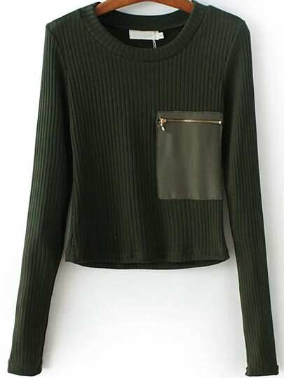 Dark Green Zipper Pocket Ribbed Knit Sweater