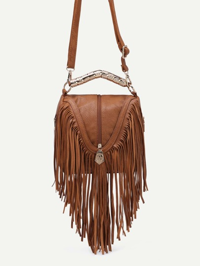 Brown Zip Embellished Fringe Trim Flap Bag