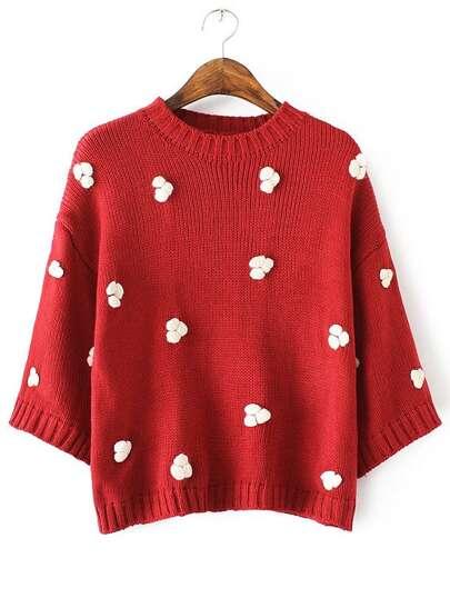 Red Flower Embellished Drop Shoulder Sweater