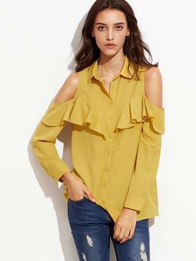 Yellow Open Shoulder Button Up Ruffle Blouse