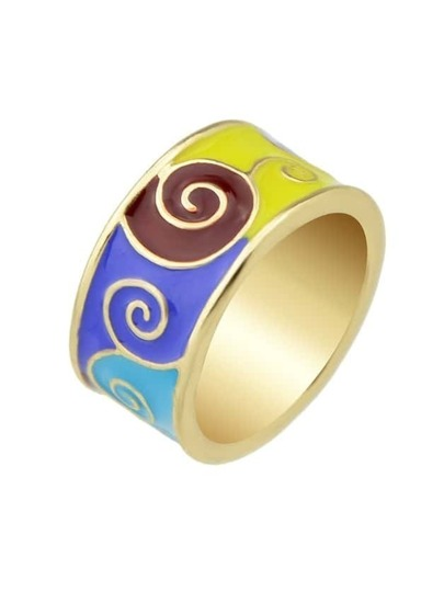Blue Round Gold Plated Finger Ring