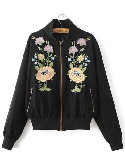 Black Flower Embroidery Bomber Jacket With Zipper