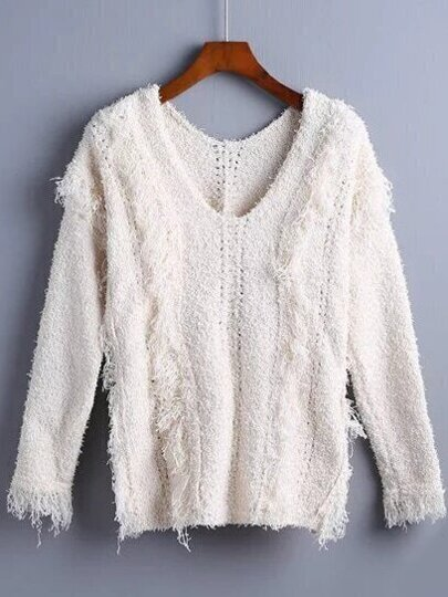 Beige V Neck Fringe Perforated Sweater