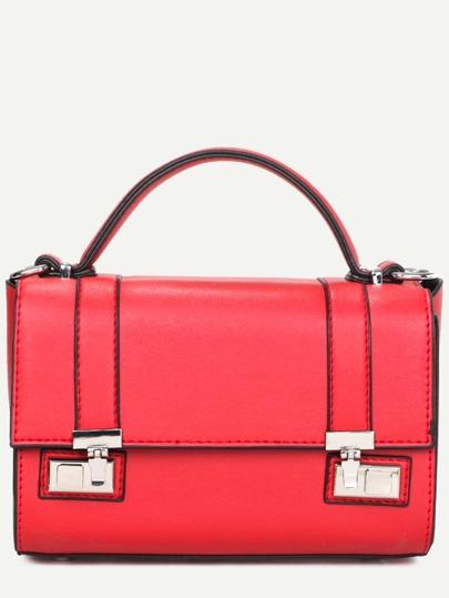 Red Dual Pushlock Satchel Bag