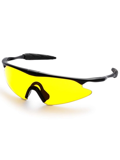 Black Wrap Yellow Lens Motorcycle Sunglasses