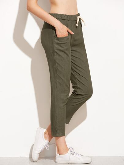 Army Green Drawstring Waist Pants