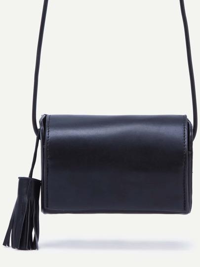 Black Fringe Snap Button Closure Flap Bag