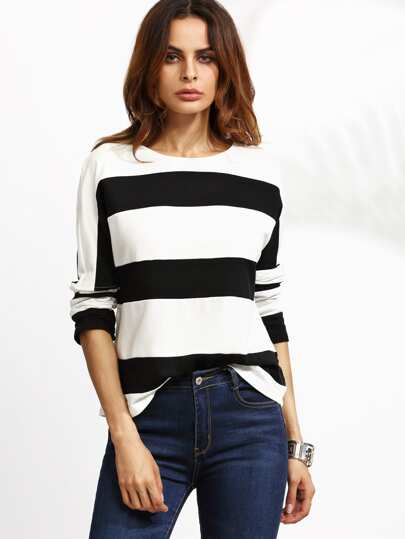 Contrast Wide Stripe Drop Shoulder T-shirt