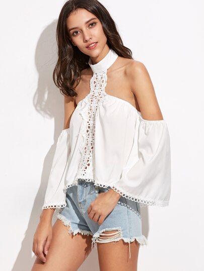 White Halter Crochet Insert Hollow Top