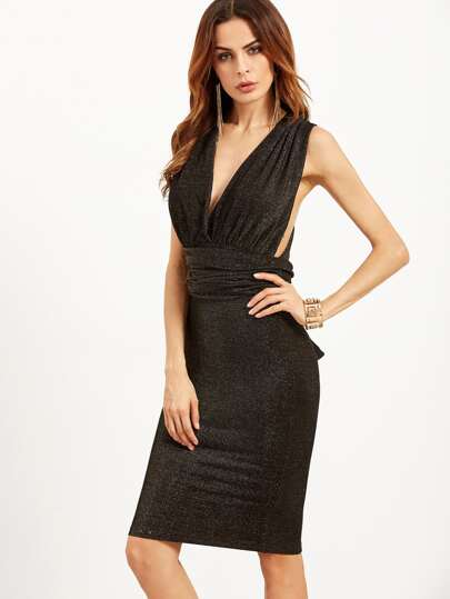 Black Glitter Convertible Pencil Dress