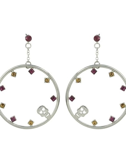 Silver Rhinestone Big Round Drop Earrings