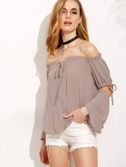 Light Brown Off The Shoulder Cut Away Sleeve Blouse