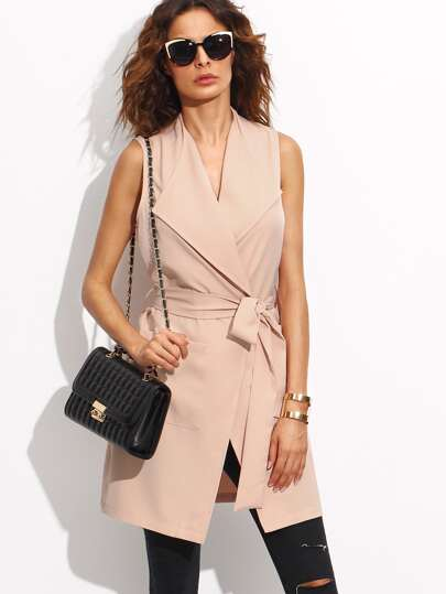 Pink Sleeveless Lapel Bow Tie Waist Outerwear