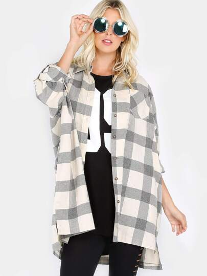 Oversized Plaid Button-Up Top IVORY