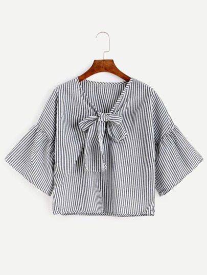 Black Vertical Striped Bow Tie Front Bell Sleeve Top