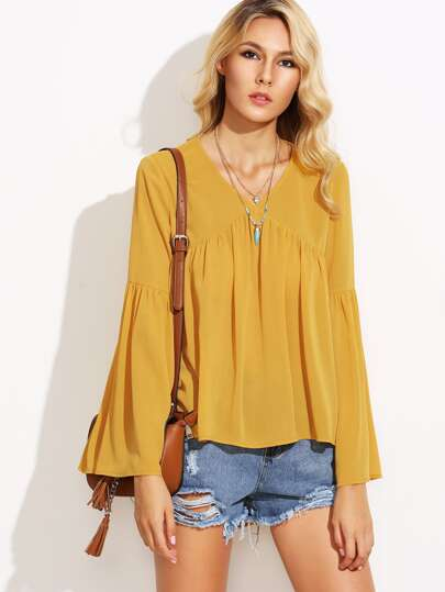 Yellow V Neck Pleated Dip Hem Blouse
