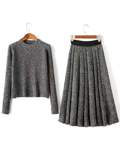 Grey Round Neck Ribbed Sweater With Pleated Skirt