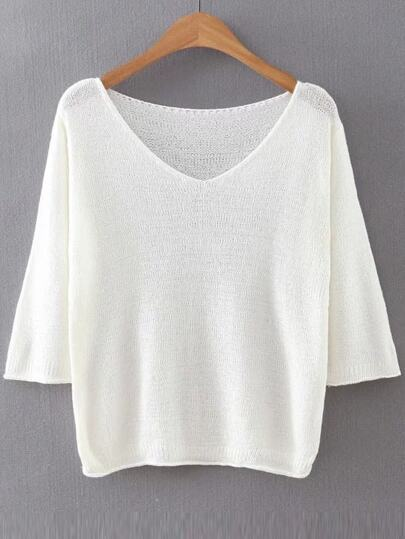 White V Neck Ribbed Trim Knitwear