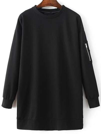 Black Long Sleeve Sweatshirt Dress With Zipper