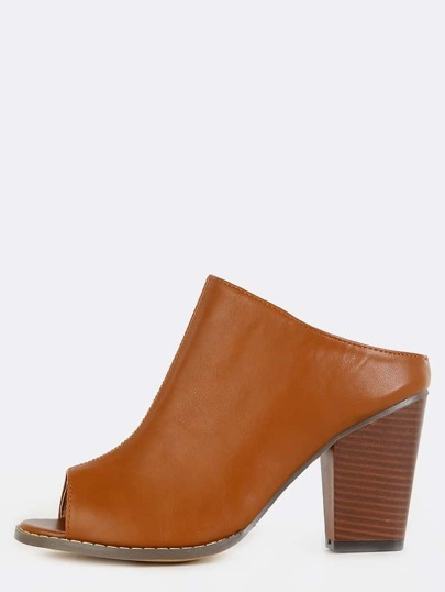 Stacked Chunky Heel Mules TAN