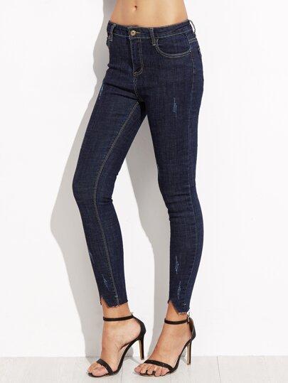 Blue Asymmetric Ankle Skinny Jeans
